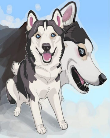 Cameo Anderson Sled Dog Husky Portrait Art 006