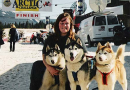 Shannon with her huskies on the set of Snow Dogs
